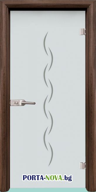 Стъклена интериорна врата, Gravur G 13-1, каса Светъл Дъб във Варна