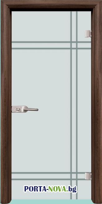 Стъклена интериорна врата, Gravur G 13-8, каса Светъл дъб във Варна