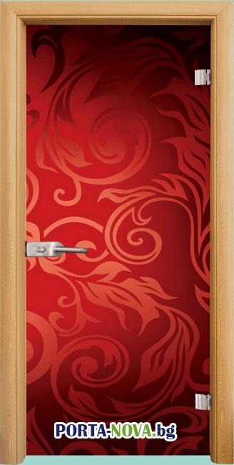 Стъклена интериорна врата, Print G 13-11, каса Бяла във Варна
