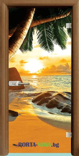 Стъклена интериорна врата, Print G 13-14, каса Светъл дъб във Варна