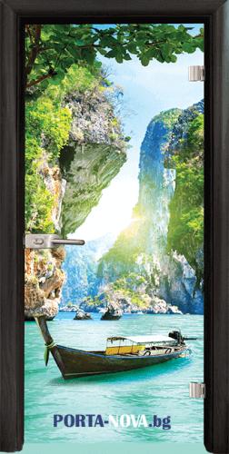 Стъклена интериорна врата, Print G 13-15 във Варна