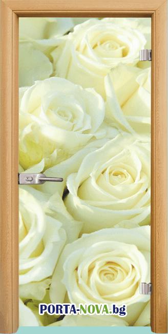 Стъклена интериорна врата, Print G 13-6, каса Бяла във Варна