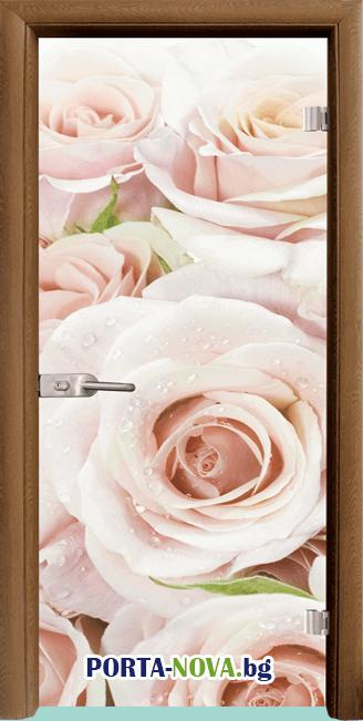 Стъклена интериорна врата, Print G 13-7, каса Светъл дъб във Варна