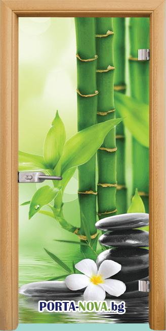 Стъклена интериорна врата, Print G 13-9, каса Светъл дъб във Варна