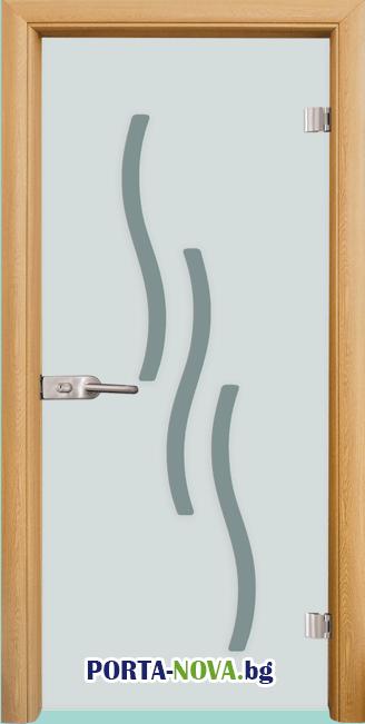 Стъклена интериорна врата, Sand G 14-2, каса Светъл дъб във Варна