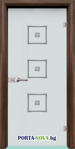 Стъклена интериорна врата, Sand G 14-3, каса Бяла във Варна