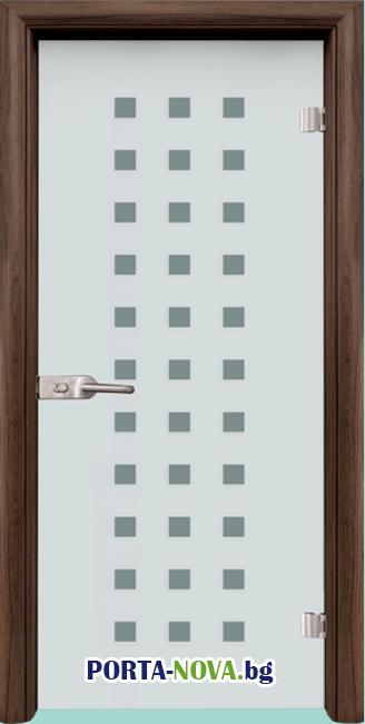 Стъклена интериорна врата, Sand G 14-4, каса Светъл дъб във Варна