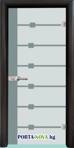 Стъклена интериорна врата, Sand G 14-5, каса Бяла във Варна