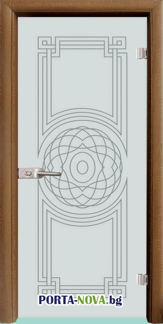 Стъклена интериорна врата, Sand G 14-8, каса Светъл дъб във Варна