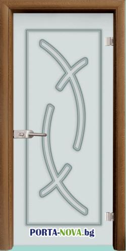 Стъклена интериорна врата, Sand G 14-9, каса Бяла във Варна