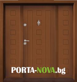 Двукрила входна врата Т-712, цвят Златен дъб във Варна