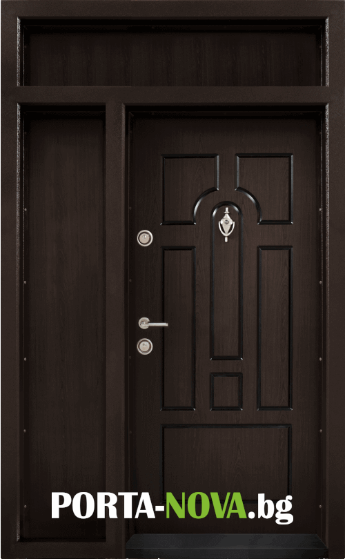 Еднокрила входна врата Т-108, цвят Тъмен орех във Варна