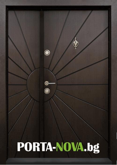 Еднокрила входна врата Т-109, цвят Тъмен орех във Варна