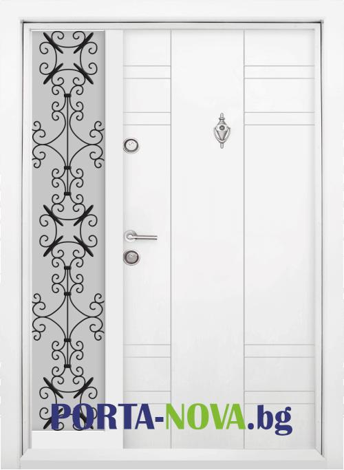 Еднокрила входна врата Т-598, цвят Бял във Варна